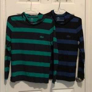Two Lacoste long sleeves shirts with hoods
